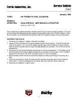 Ferris Service Bulletin F007 No power to fuel solenoid for the Dual Drive Walk Behinds (Dual Drive Series) (Serial No. 1072 – 1101)