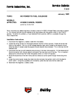 Ferris Service Bulletin F009 No power to fuel solenoid on the H1920B 3-Wheel Rider model (Serial No. 5159 – 5198)