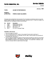 Ferris Service Bulletin F010 Auger interference on the Ferris brand snowblower (SBR53)