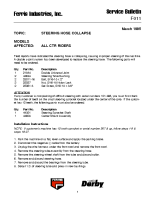 Ferris Service Bulletin F011 Steering hose collapse on all CTR models