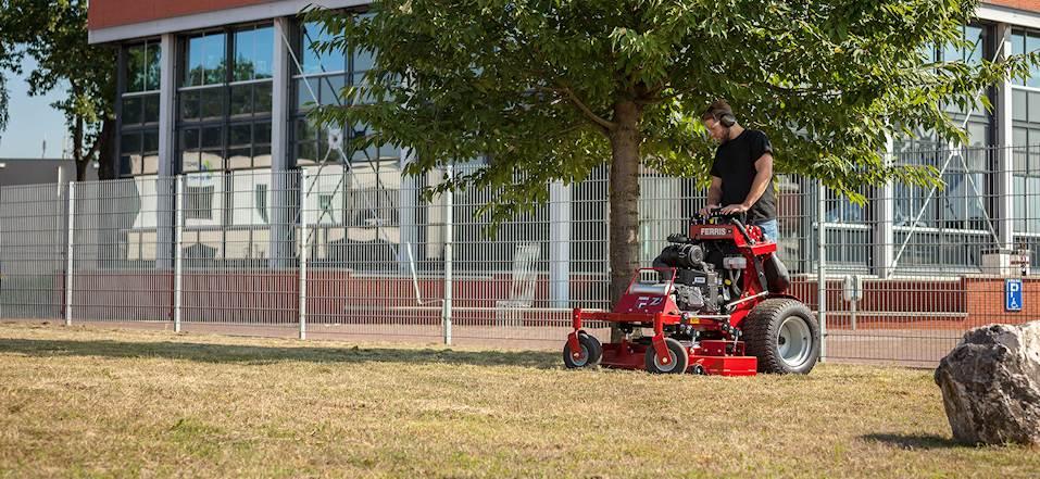 ferris stand on zero turn mower srsz1 in use